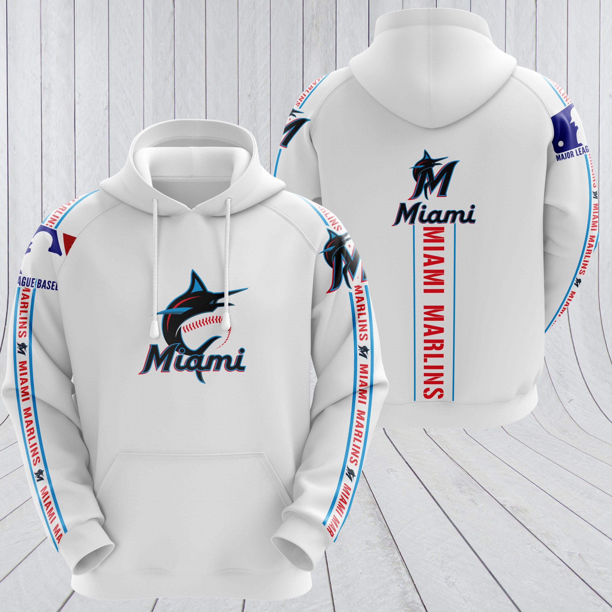 MLB miami marlins full printing hoodie - white