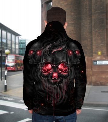 Melting skull full printing hoodie - back 1