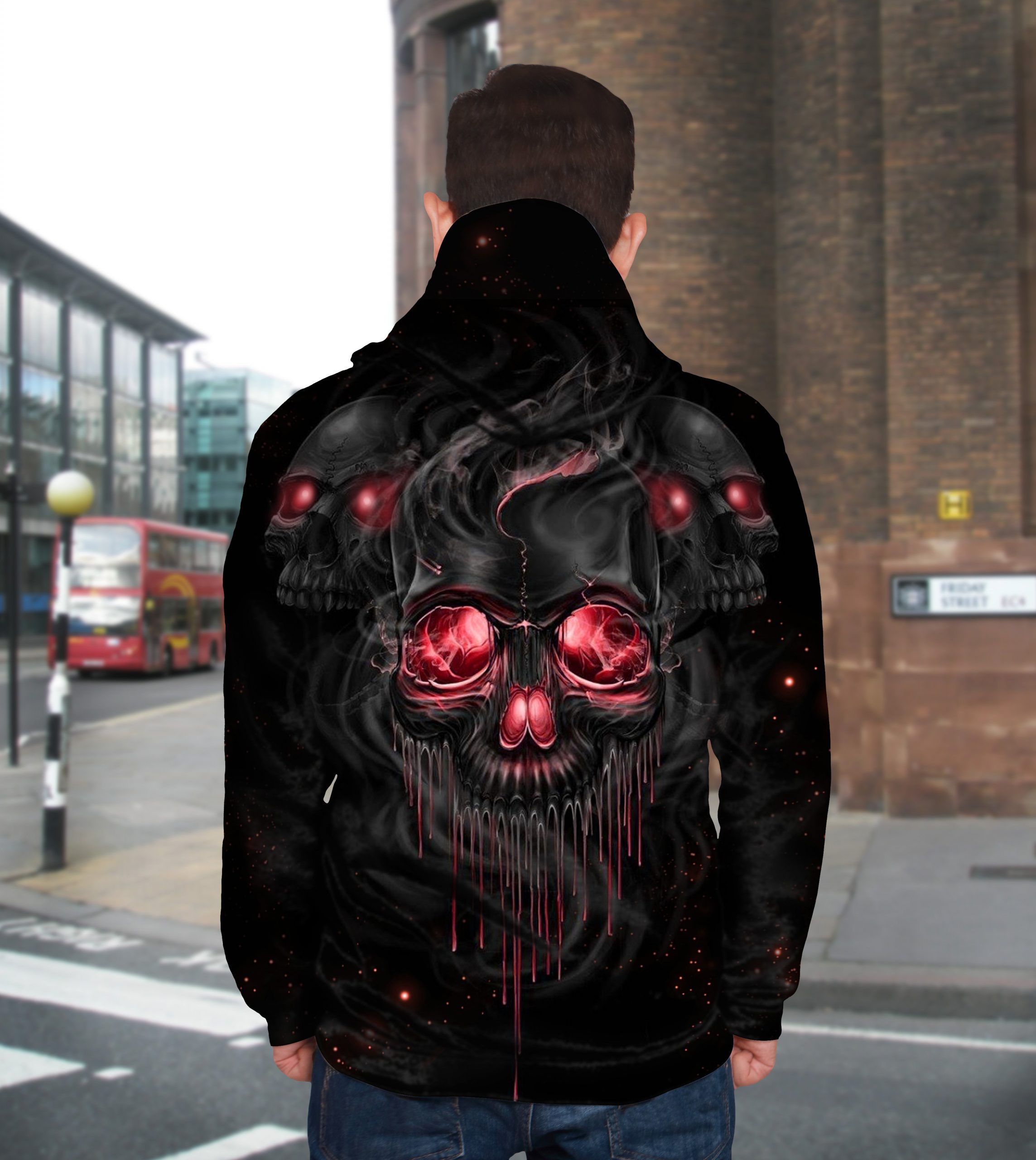 Melting skull full printing hoodie - back 1