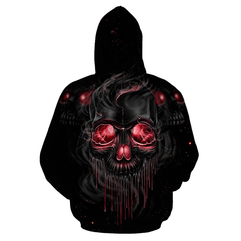 Melting skull full printing hoodie - back