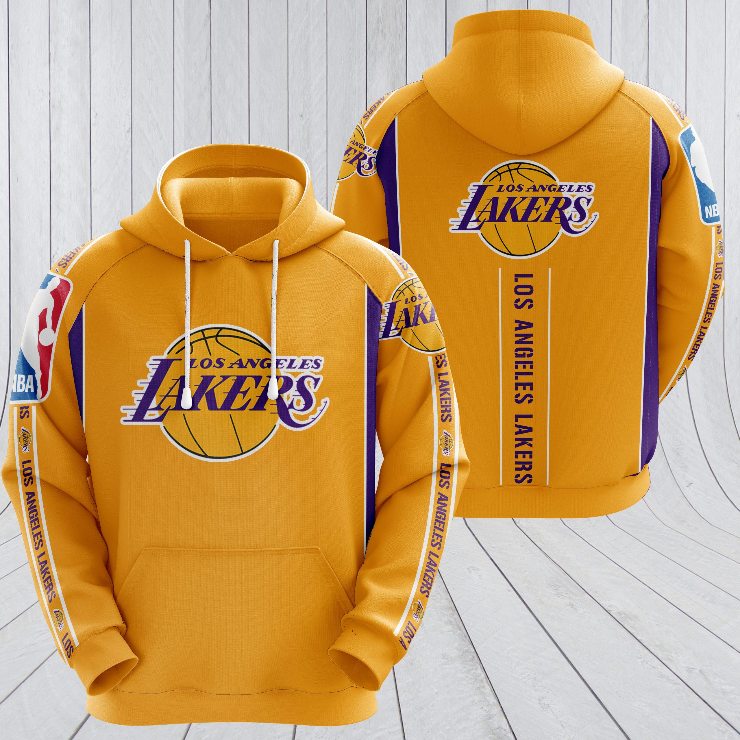NBA los angeles lakers full printing hoodie - yellow 1
