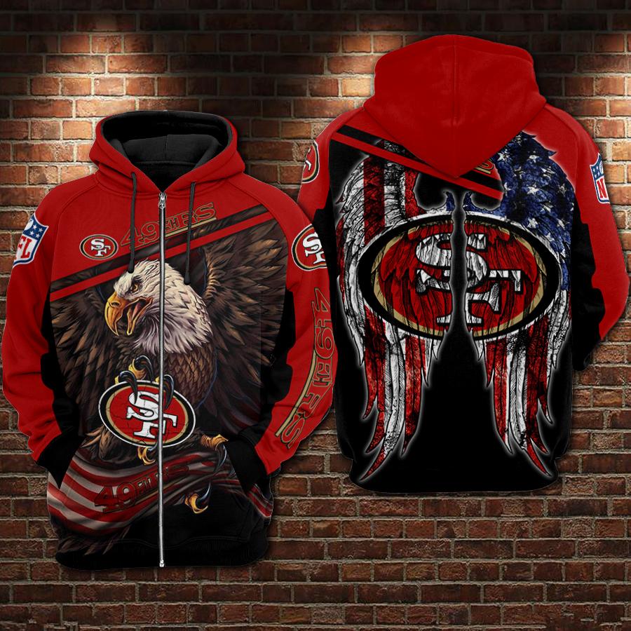 NFL San francisco 49ers Eagle full printing zip hoodie