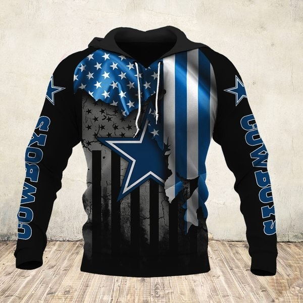 NFL dallas cowboys american flag all over print hoodie