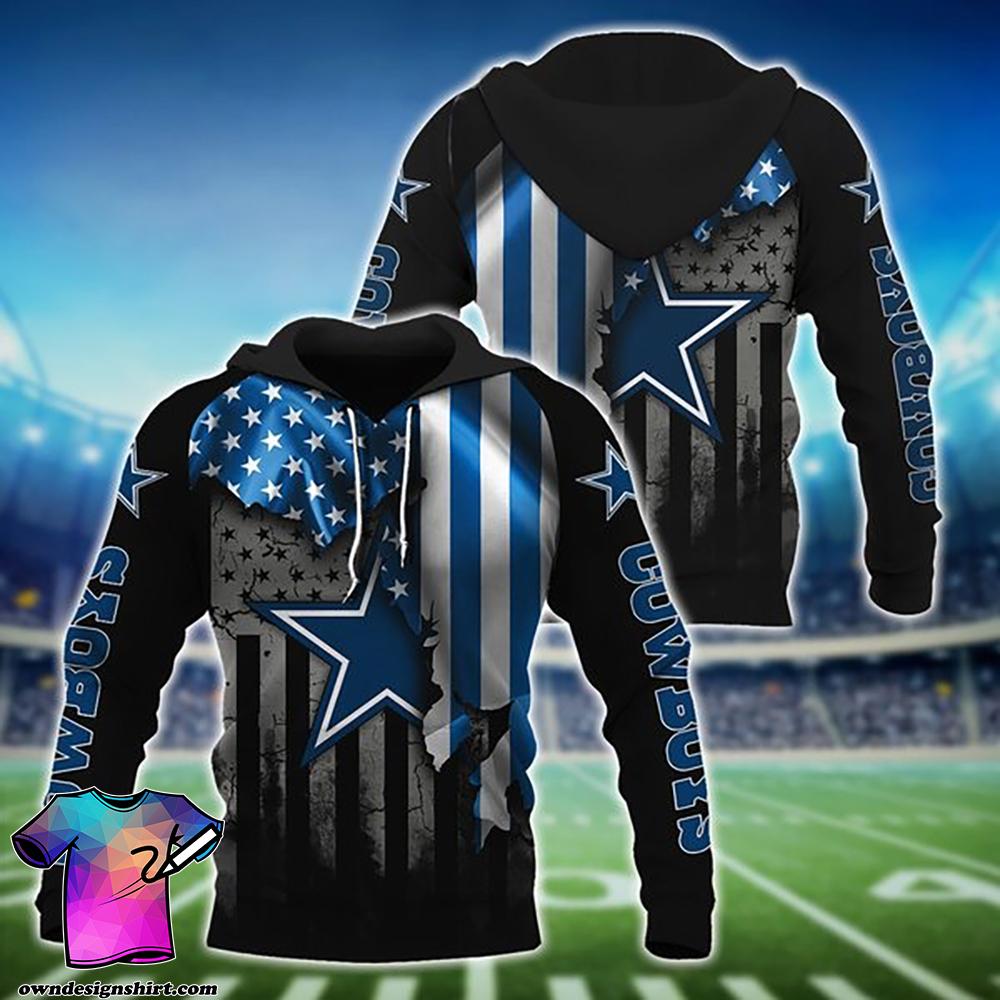 NFL dallas cowboys american flag all over print shirt