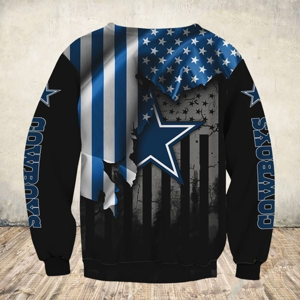 NFL dallas cowboys american flag all over print sweatshirt - back