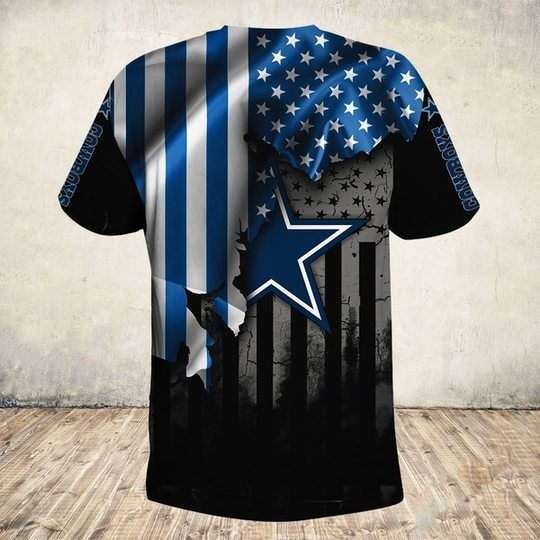 NFL dallas cowboys american flag all over print tshirt - back