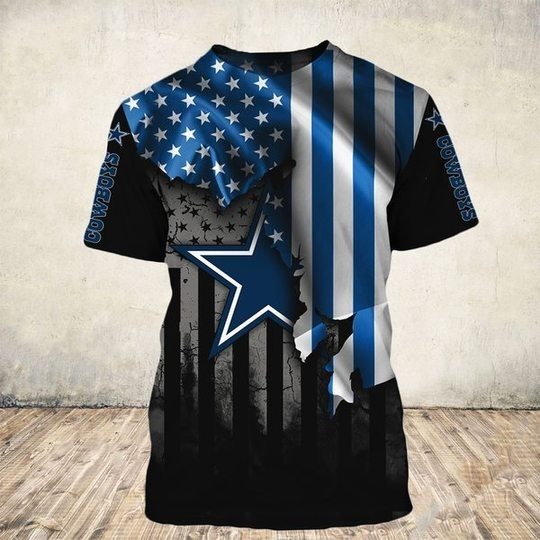 NFL dallas cowboys american flag all over print tshirt