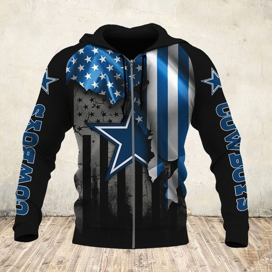 NFL dallas cowboys american flag all over print zip hoodie