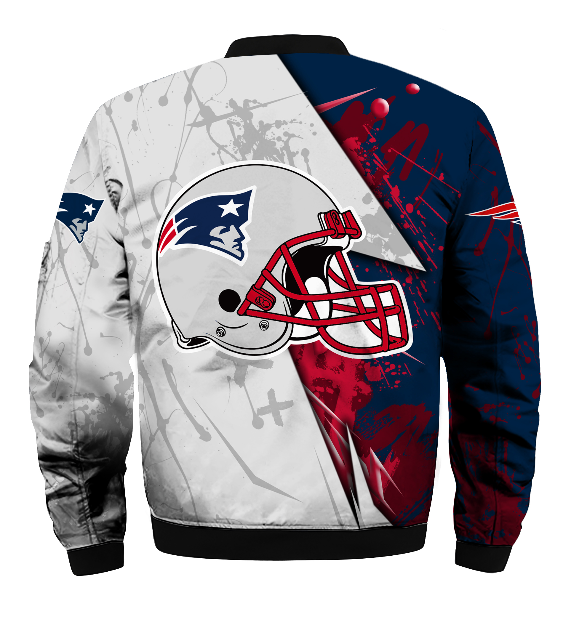 NFL new england patriots all over printed bomber - back