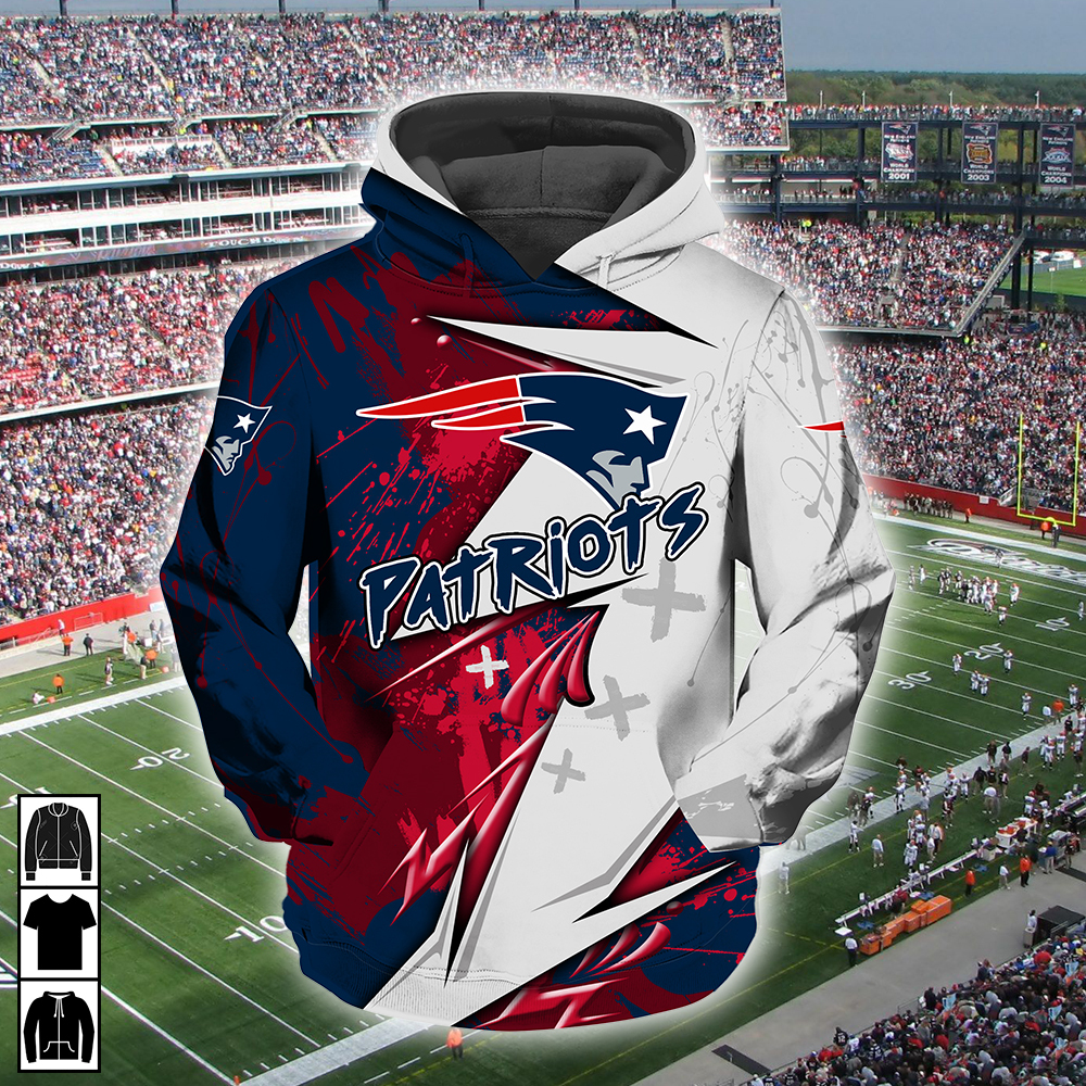 NFL new england patriots all over printed hoodie