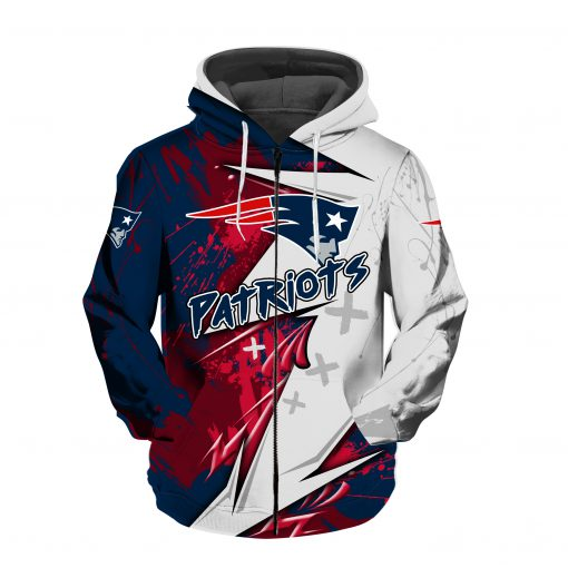 NFL new england patriots all over printed zip hoodie