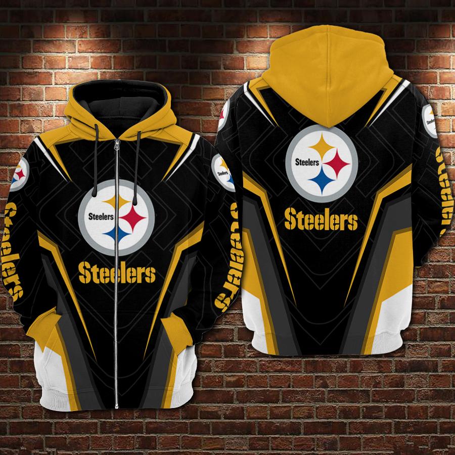 NFL pittsburgh steelers all over printed zip hoodie 1