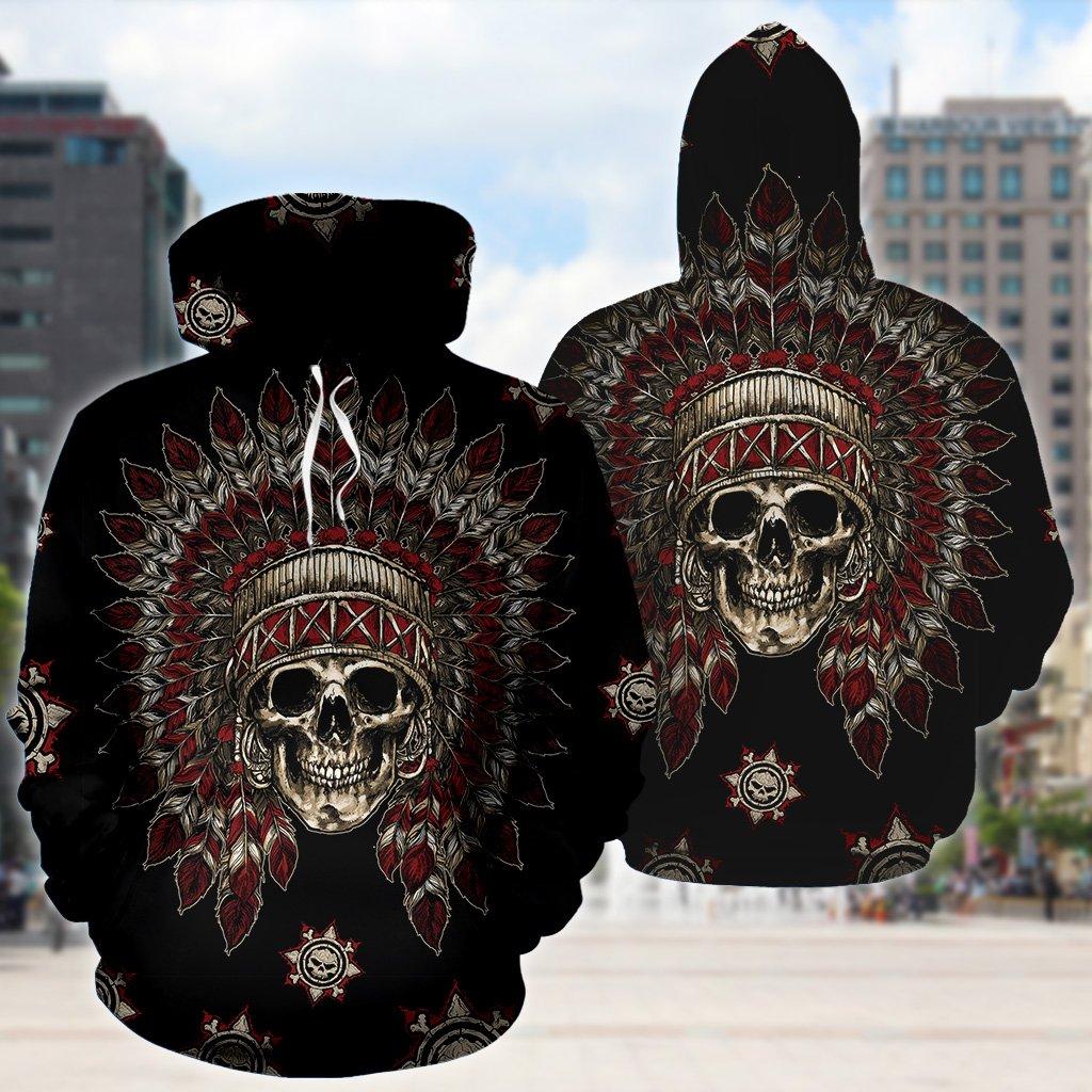Native american skull full printing hoodie 3