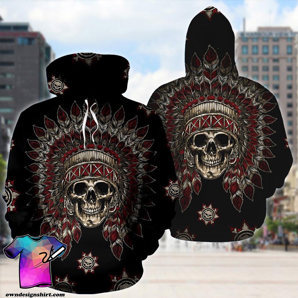 Native american skull full printing shirt