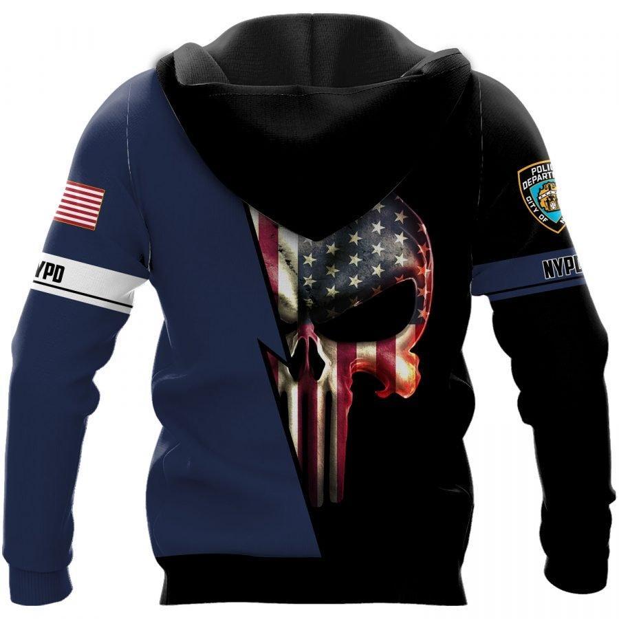 New york police department skull full printing hoodie - back