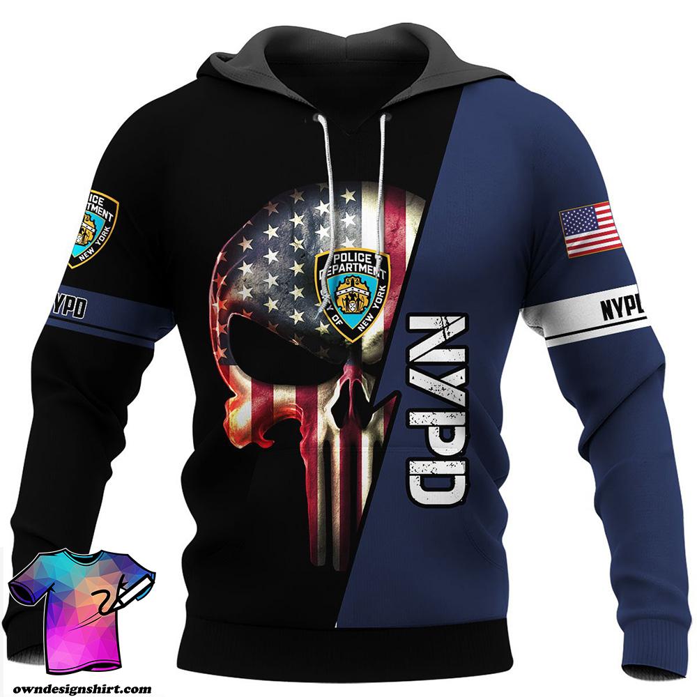 New york police department skull full printing shirt