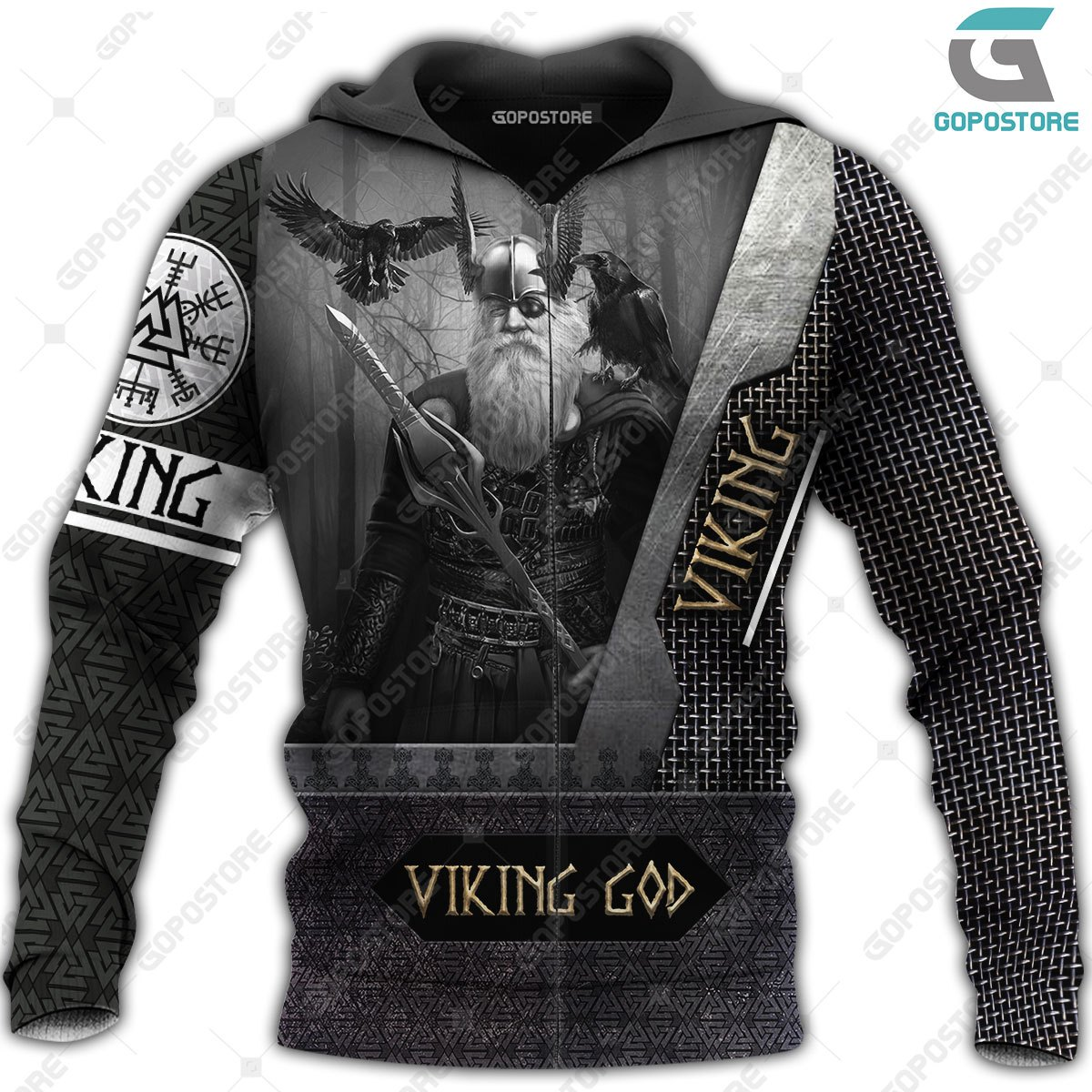 Odin the all father viking full printing zip hoodie