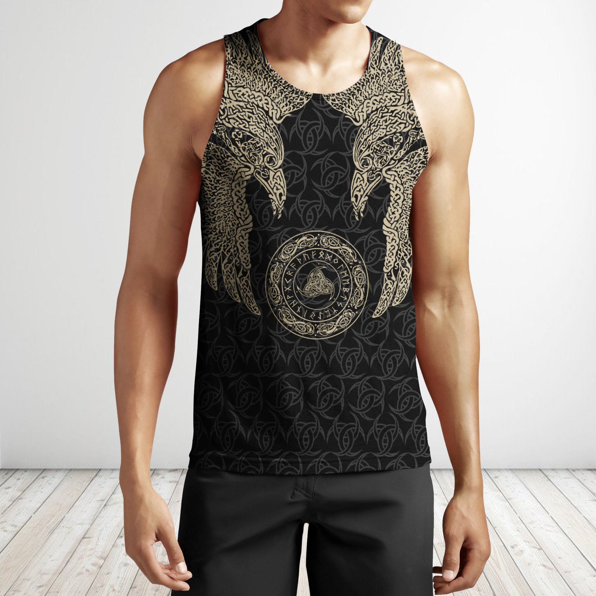 Odin's ravens viking all over printed tank top