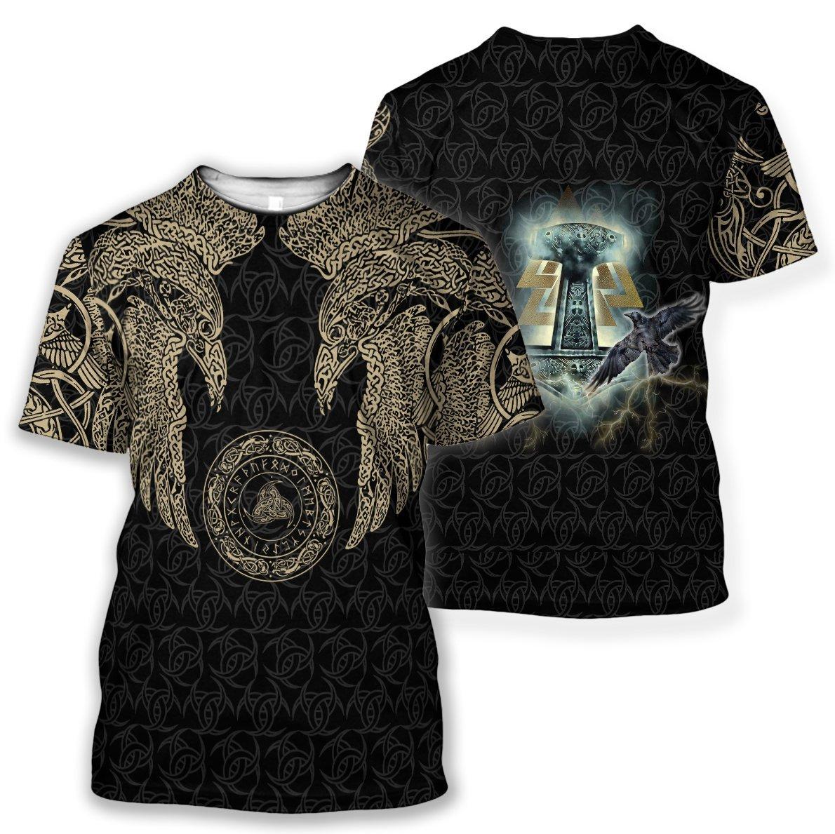 Odin's ravens viking all over printed tshirt