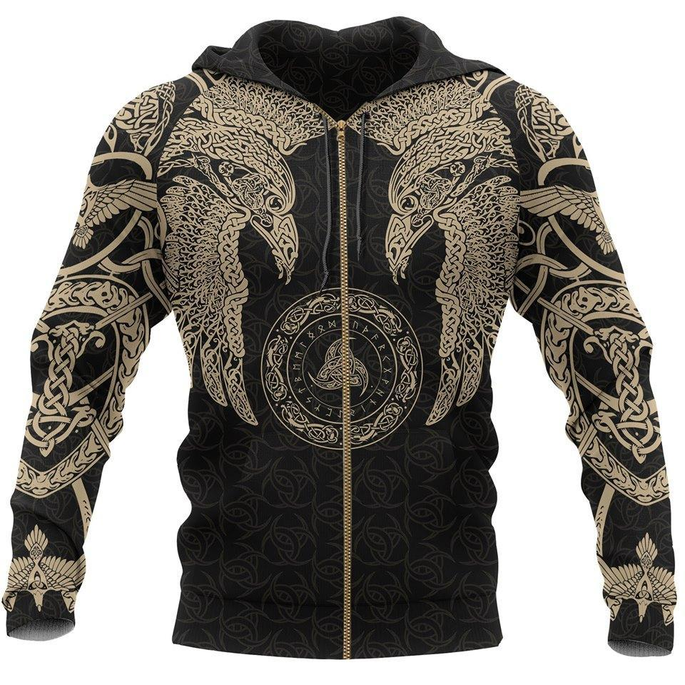 Odin's ravens viking all over printed zip hoodie