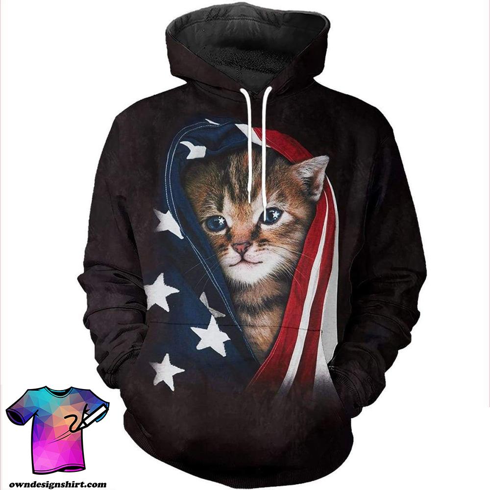Patriotic kitten american flag all over print shirt