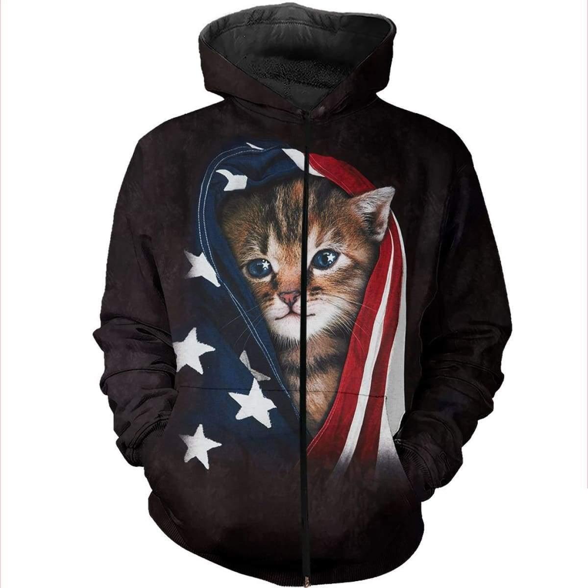 Patriotic kitten american flag all over print zip hoodie