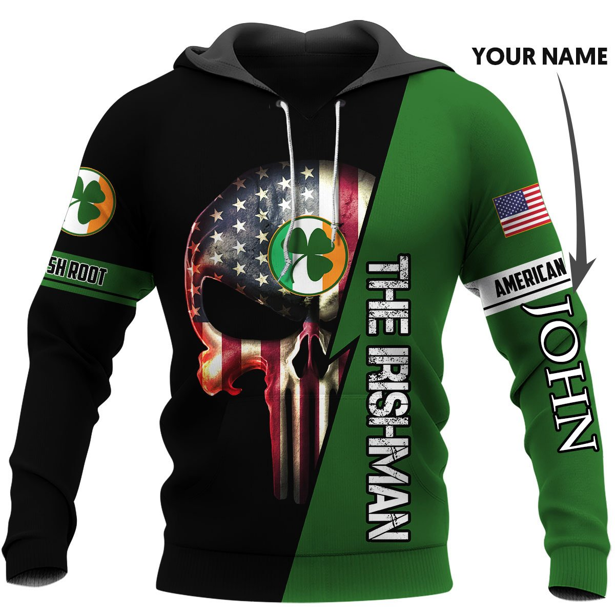 Personalized irish american skull full printing hoodie 1
