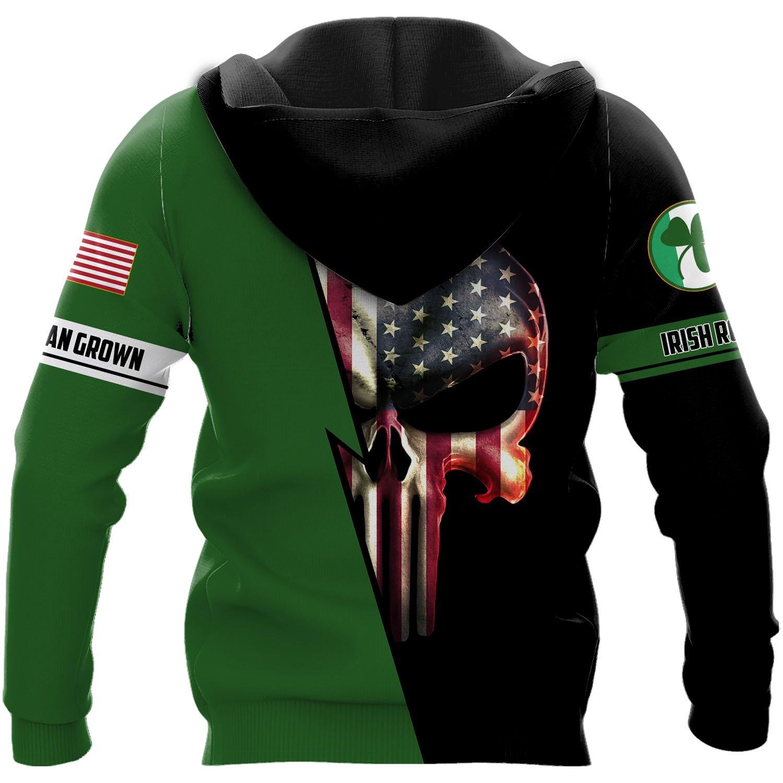 Personalized irish american skull full printing hoodie - back 1