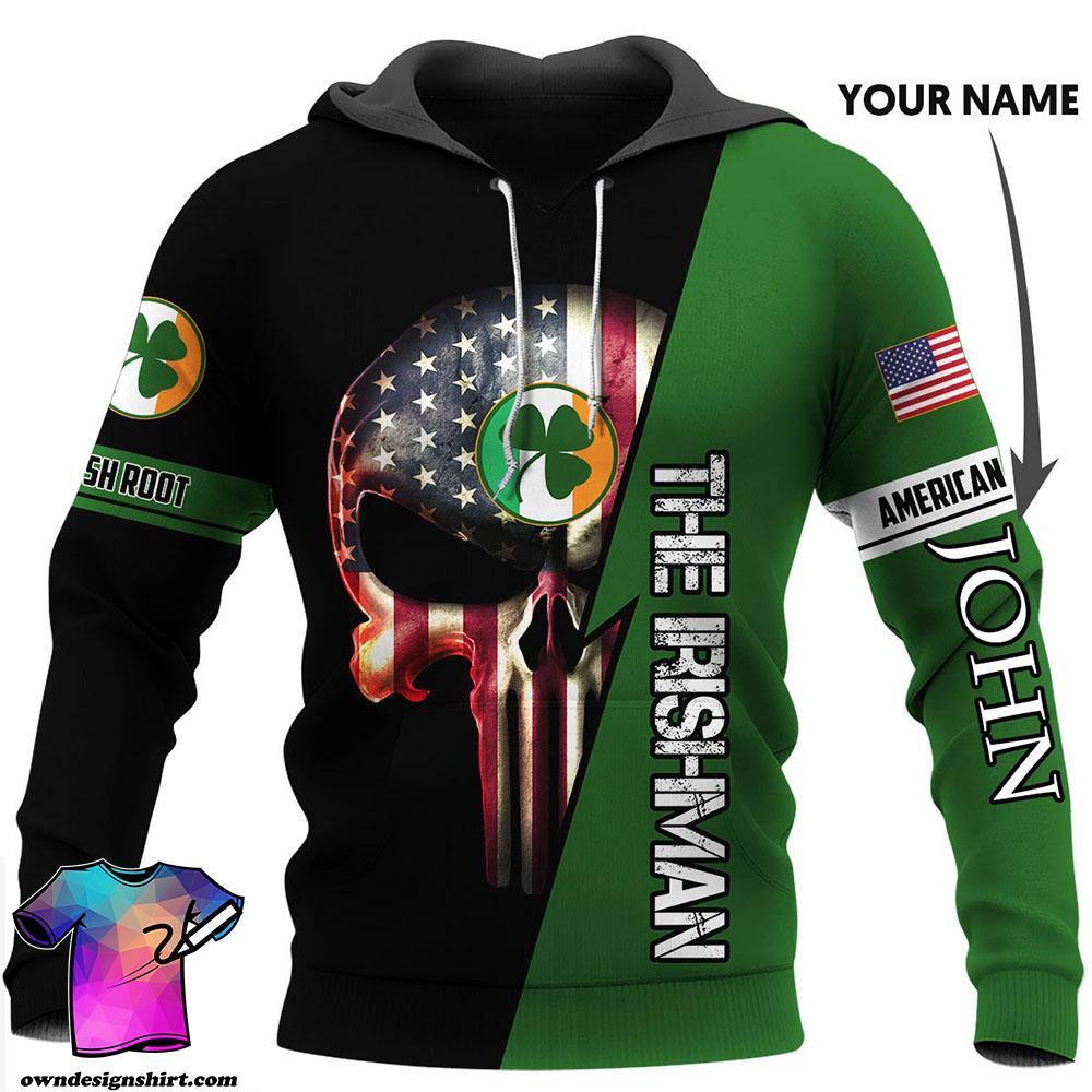 Personalized irish american skull full printing shirt