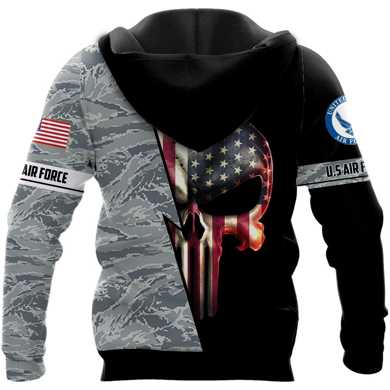 Personalized skull us air force full printing hoodie - back 1