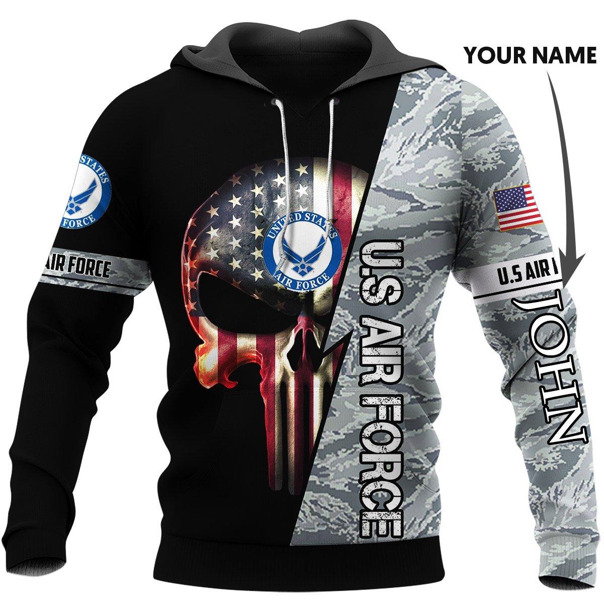 Personalized skull us air force full printing hoodie