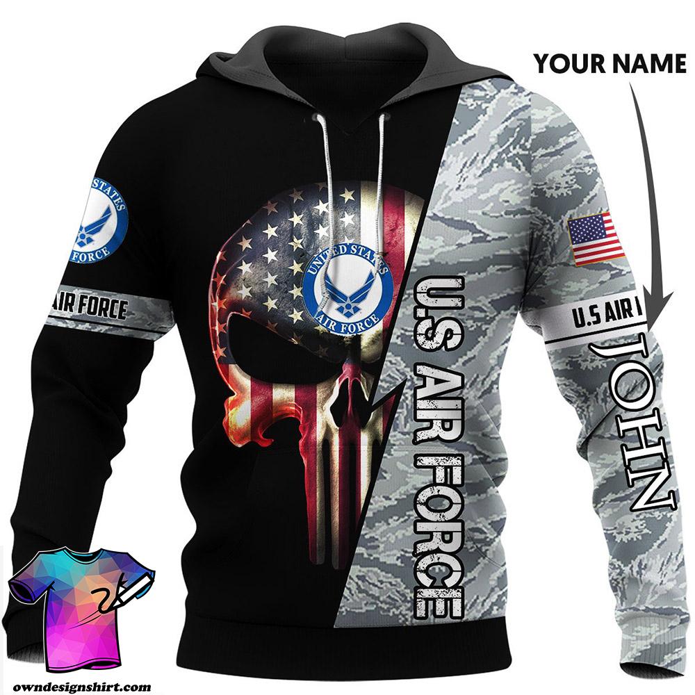 Personalized skull us air force full printing shirt