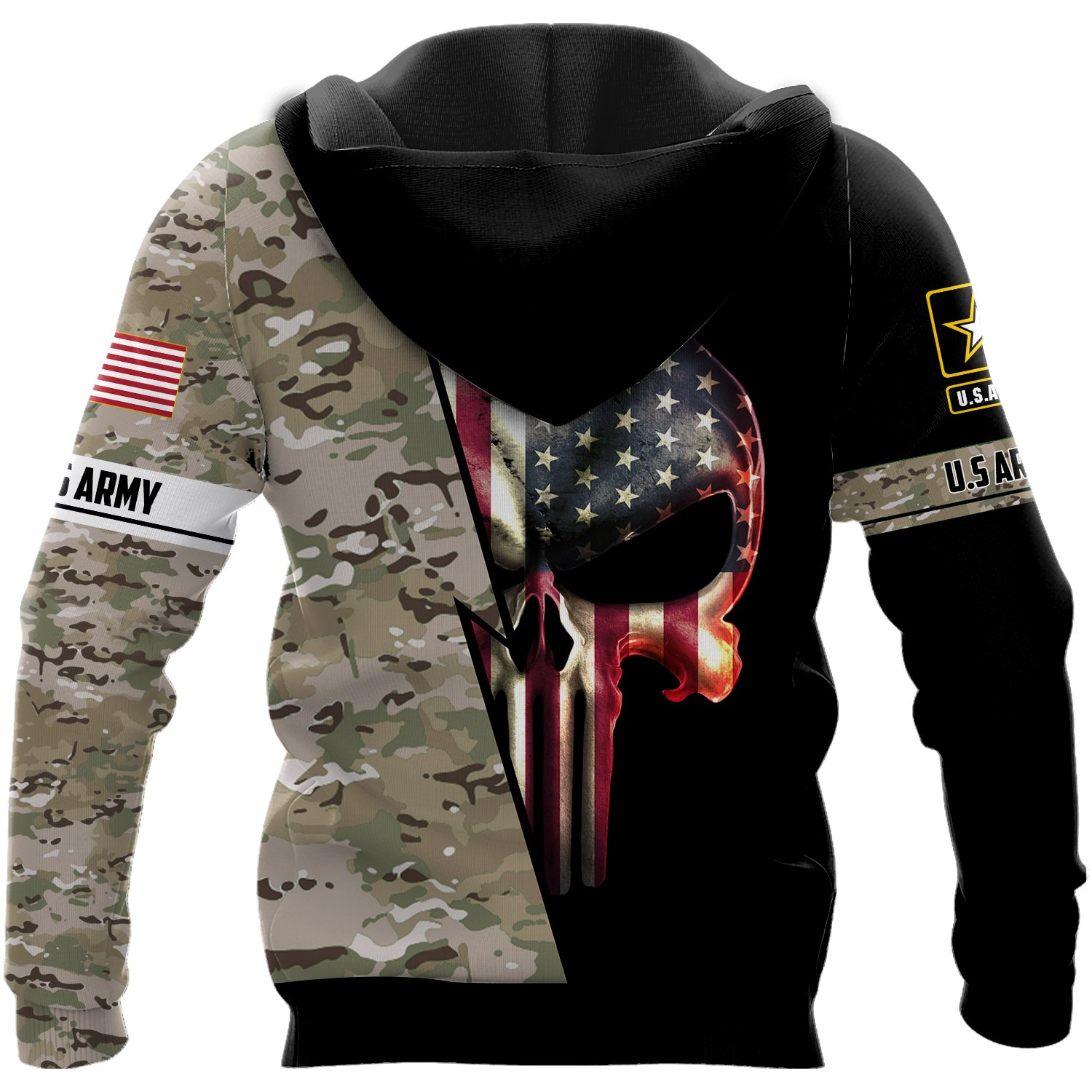 Personalized us army skull full printing hoodie - back