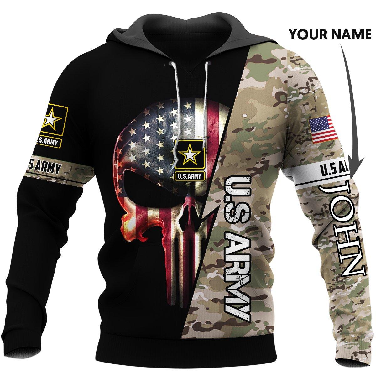 Personalized us army skull full printing hoodie