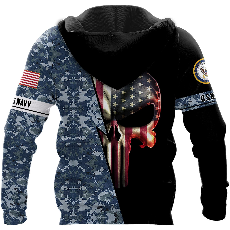 Personalized us navy skull full printing hoodie - back