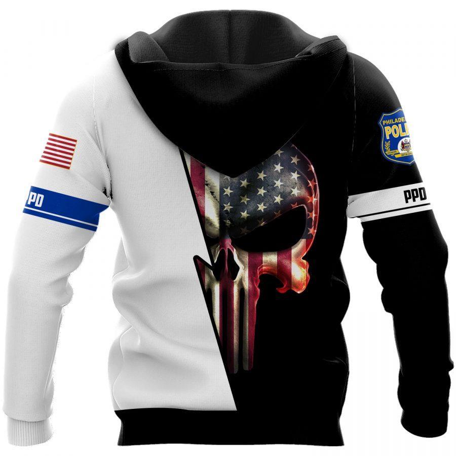Philadelphia police skull all over print hoodie - back 1