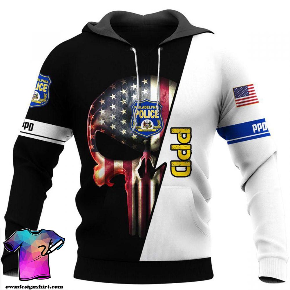 Philadelphia police skull all over print shirt