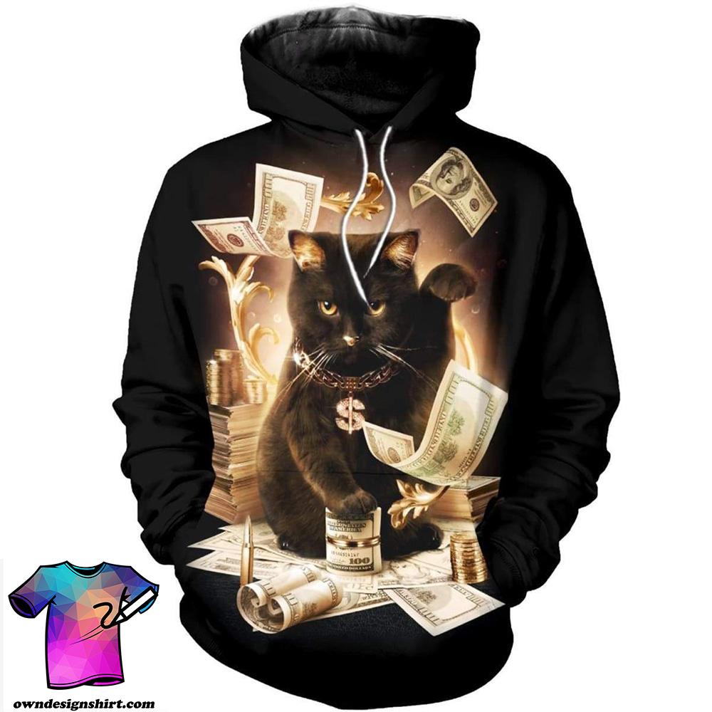Rich cat all over print shirt