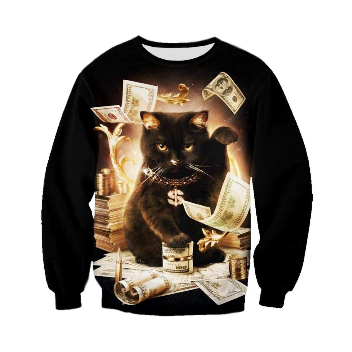 Rich cat all over print sweatshirt