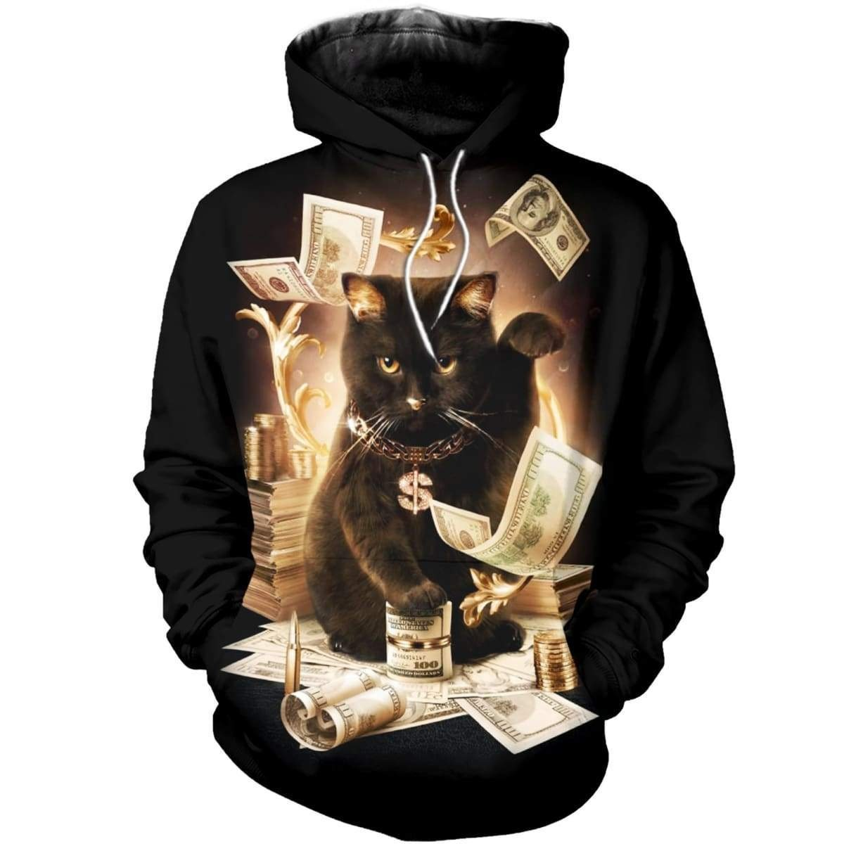Rich cat all over print zip hoodie