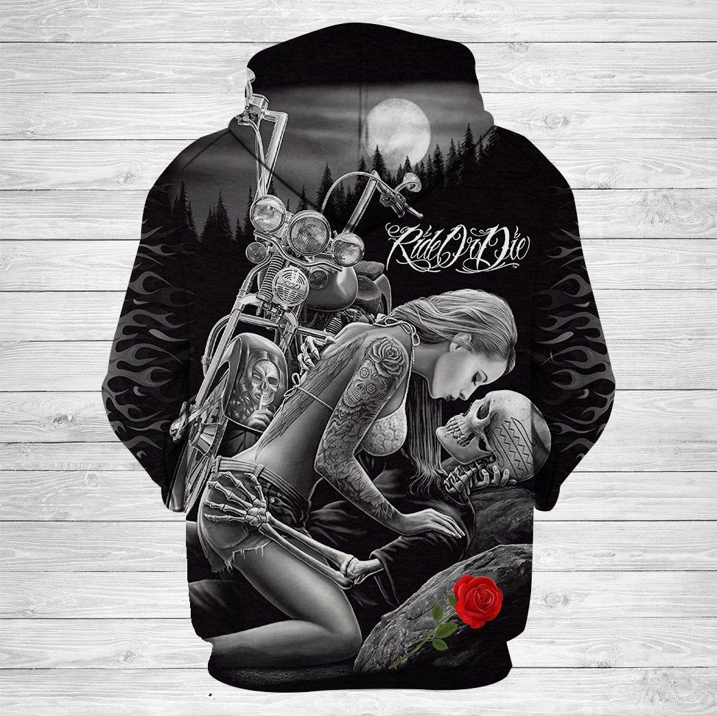 Ride or die skull couple love full printing hoodie - back 1