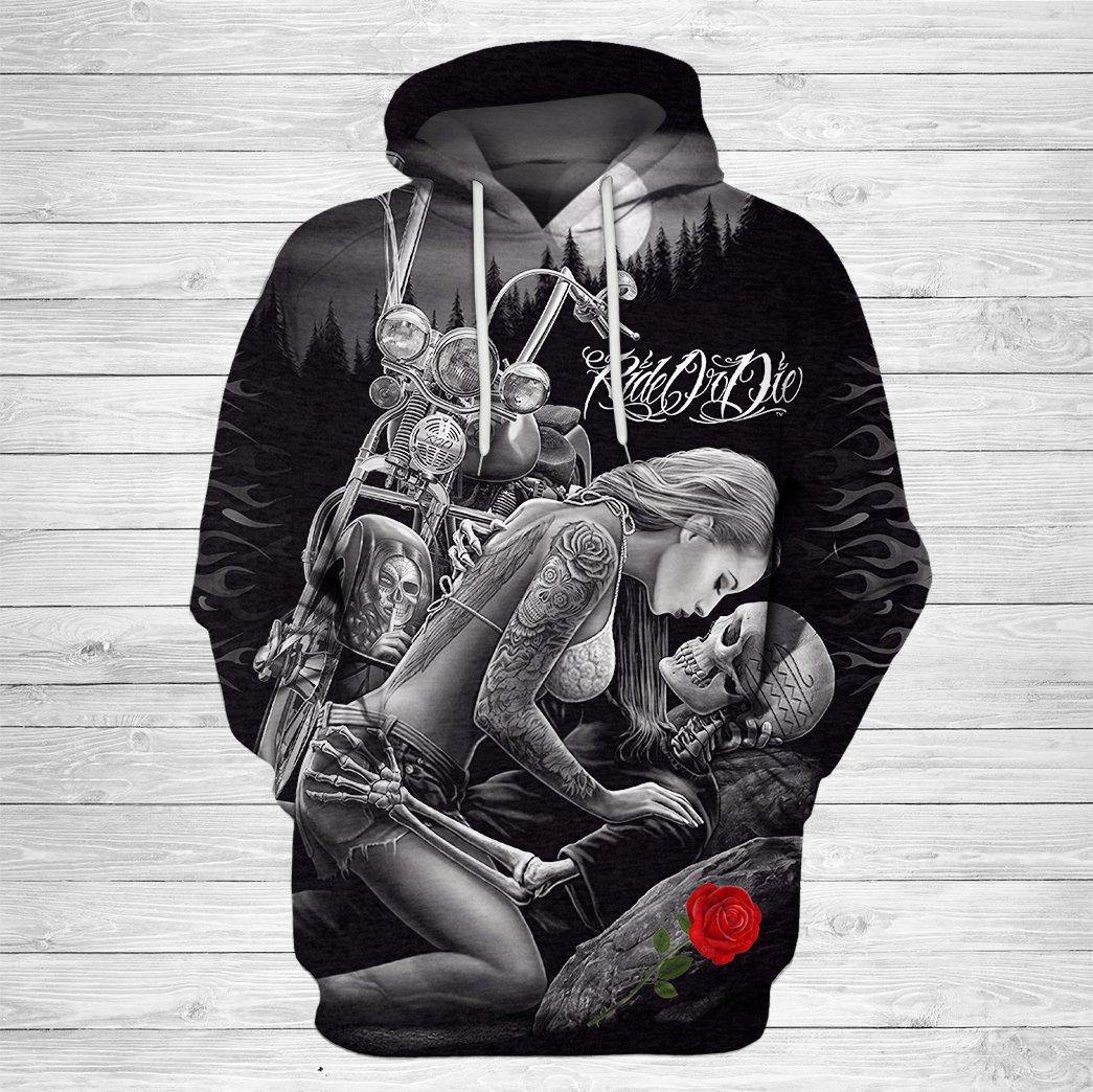 Ride or die skull couple love full printing hoodie