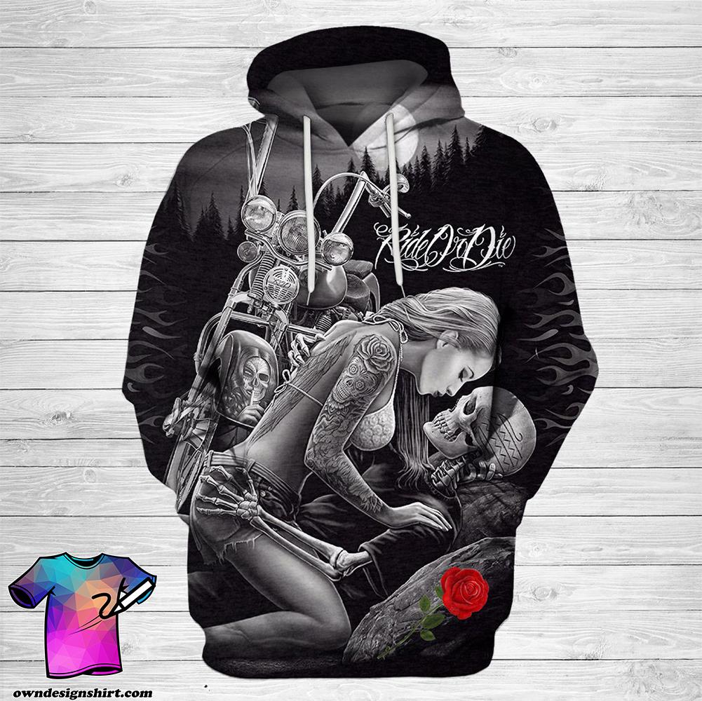 Ride or die skull couple love full printing shirt