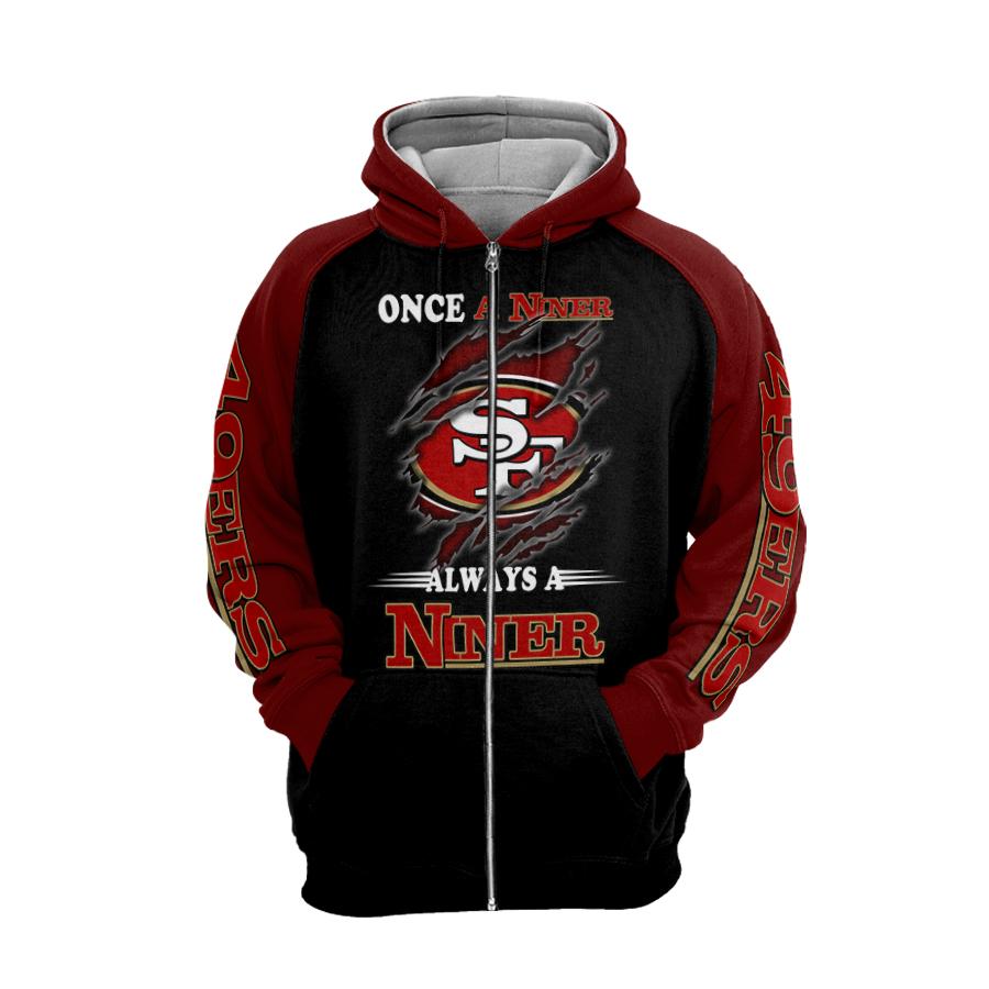 San francisco 49ers once a niner always a niner full printing zip hoodie 1