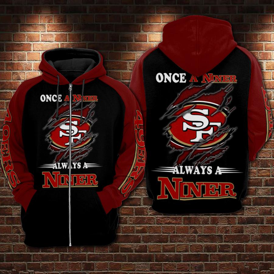 San francisco 49ers once a niner always a niner full printing zip hoodie