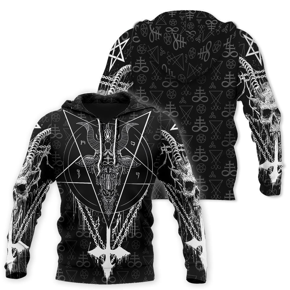 Satanic all over printed hoodie