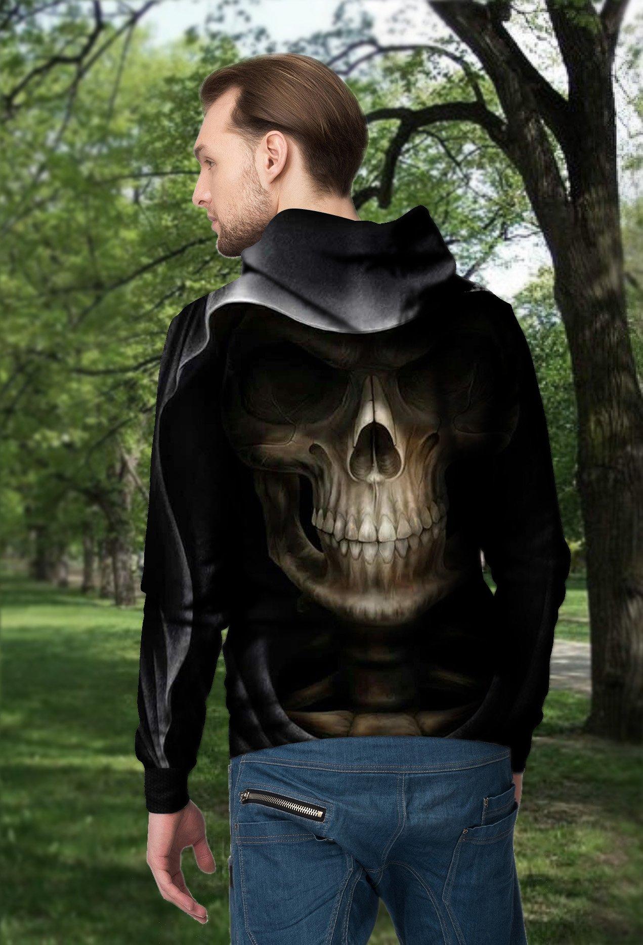 Skull death full printing hoodie - back 1
