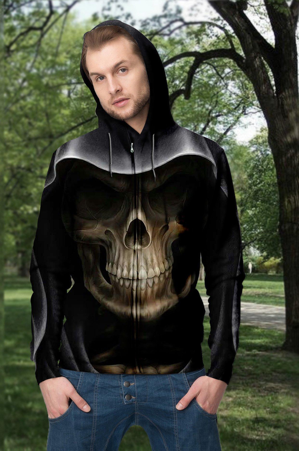 Skull death full printing hoodie