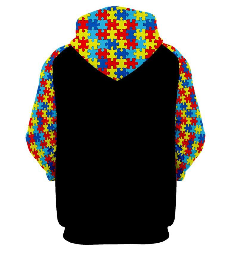 Skull it's ok to be different autism awareness full printing hoodie - back 1