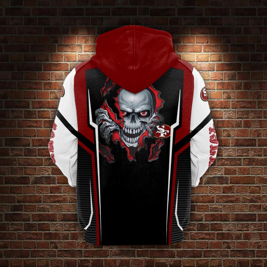 Skull san francisco 49ers full printing hoodie - back